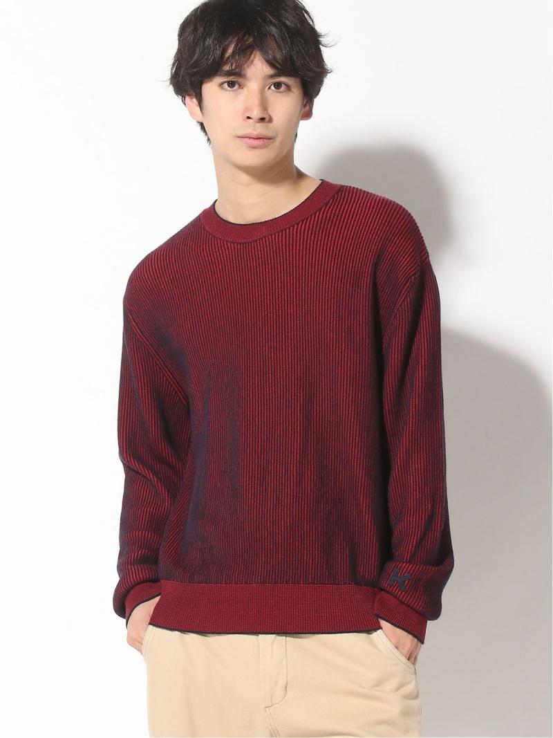 KENZO (M)Cotton Bicolor Rib Crew Jumper ケンゾー ニット 長袖ニット レッド【送料無料】