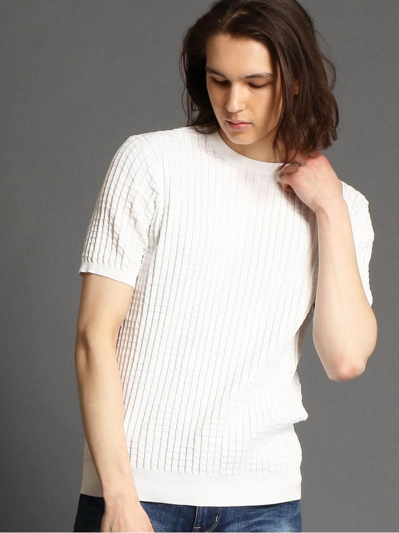 MONSIEUR NICOLE クルーネックニットTシャツ ニコル ニット ニットその他 ホワイト ブラック【送料無料】
