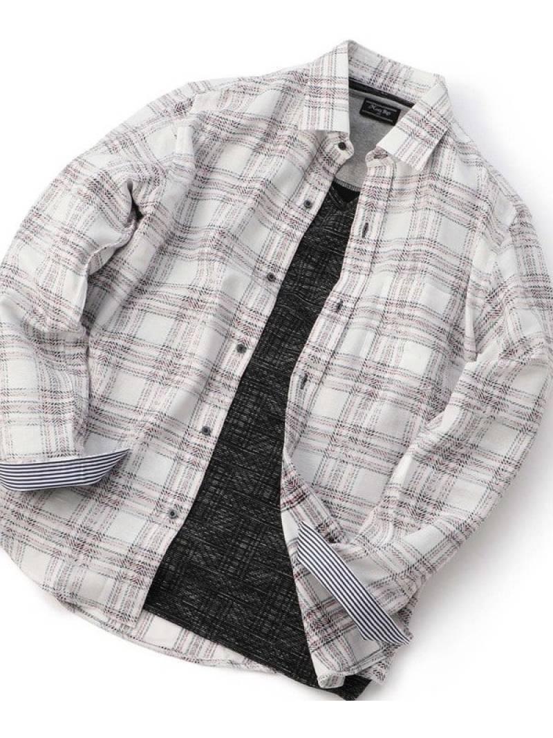 MEN'S BIGI ツイル調チェック柄シャツ メンズ ビギ シャツ/ブラウス 長袖シャツ ネイビー【送料無料】