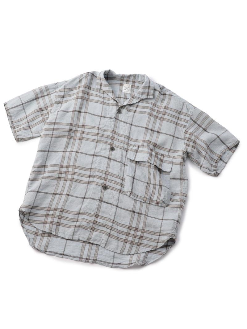 ハーフスリーブチェックシャツ/リネン100% メンズ ビギ シャツ/ブラウス【送料無料】