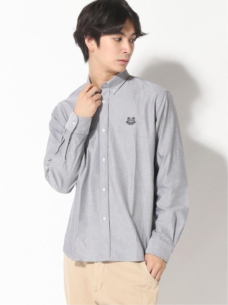 KENZO (M)Happy Tiger Crest Oxford Shirt M ケンゾー シャツ/ブラウス 長袖シャツ グレー ホワイト【送料無料】