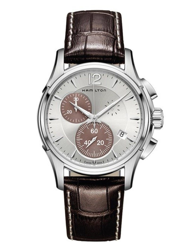 HAMILTON ジャズマスター CHRONO QUARTZ シルバー×ブラウン ハミルトン ファッショングッズ 腕時計 シルバー【送料無料】