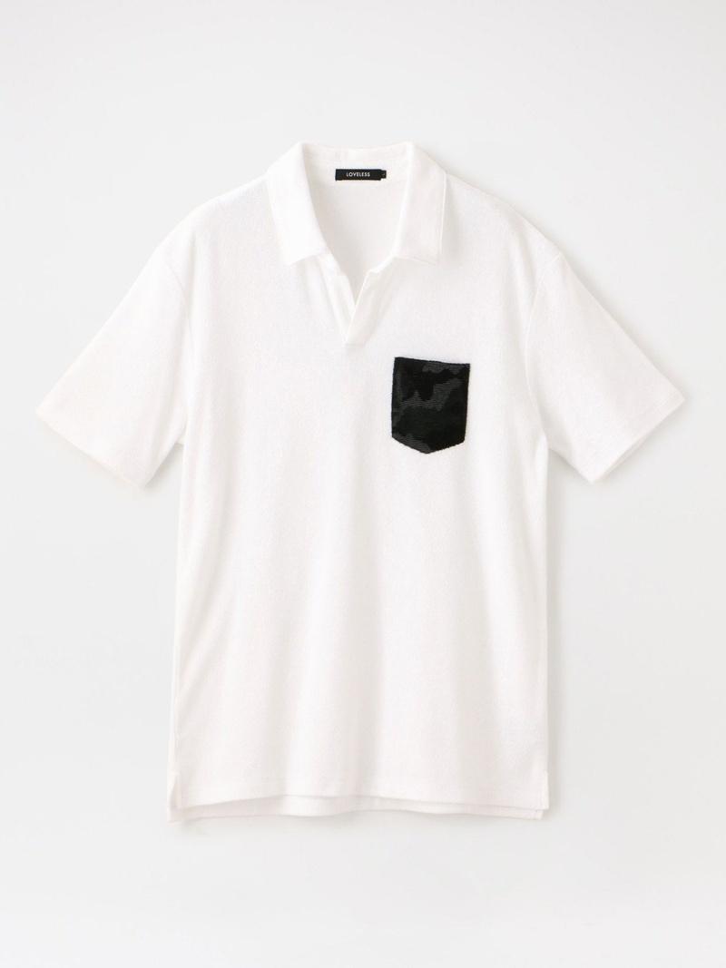 GUILD PRIME カモフラパイルポロ ラブレス カットソー ポロシャツ ホワイト ネイビー【送料無料】