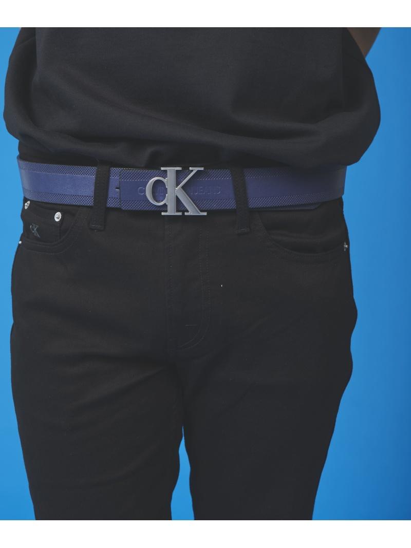 Calvin Klein Jeans Accessory (M)【カルバン クライン ジーンズ】 ラージ CK ロゴ レザー ベルト カルバン・クライン ファッショングッズ ベルト ネイビー【送料無料】