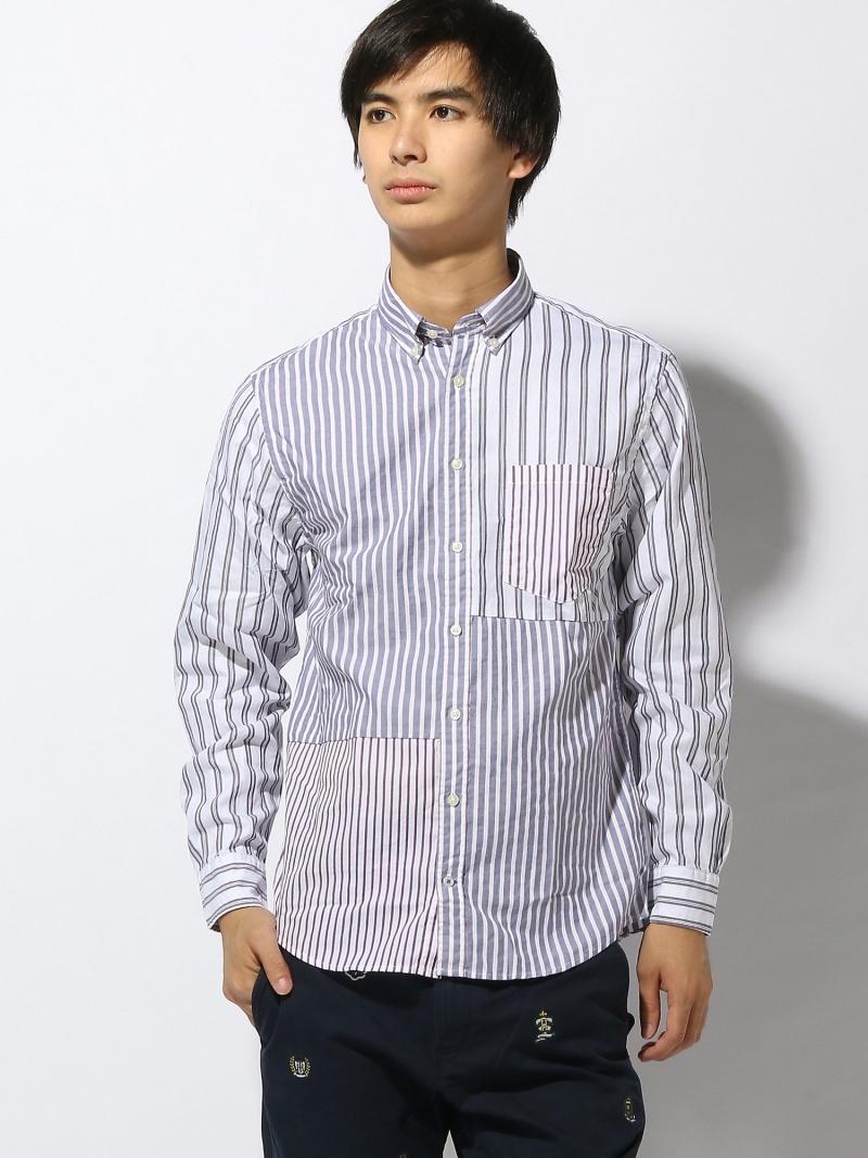 (M)トミーヒルフィガー【ストライプパッチワークシャツ】メンズ ロゴ トミーヒルフィガー シャツ/ブラウス【送料無料】