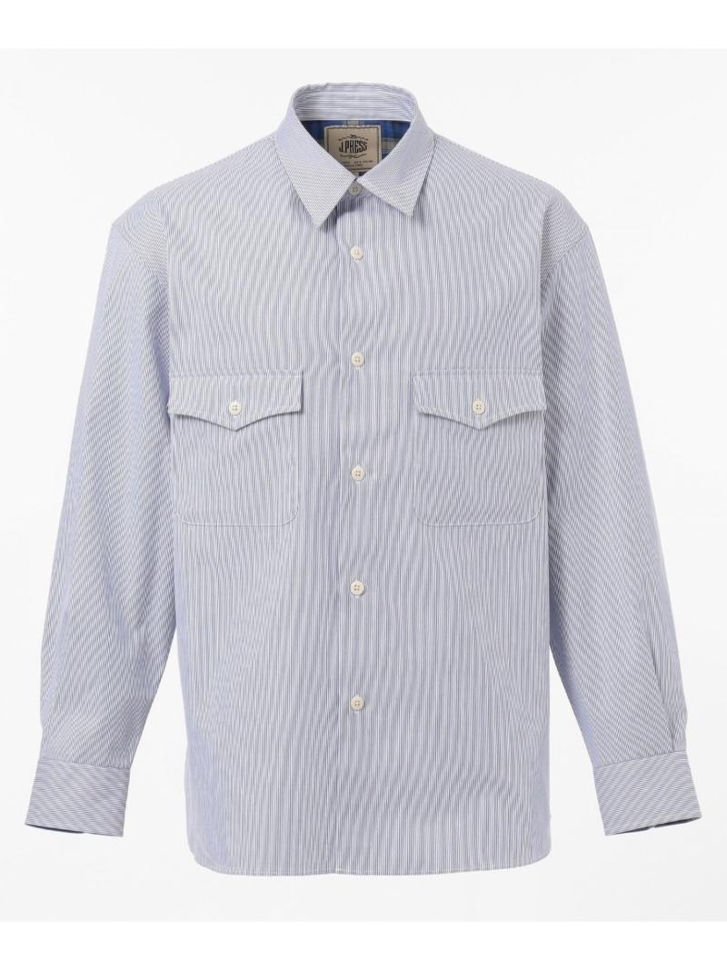 J.PRESS コードレーン×チェックシャツブルゾン ジェイプレス シャツ/ブラウス 長袖シャツ ネイビー ブルー【送料無料】
