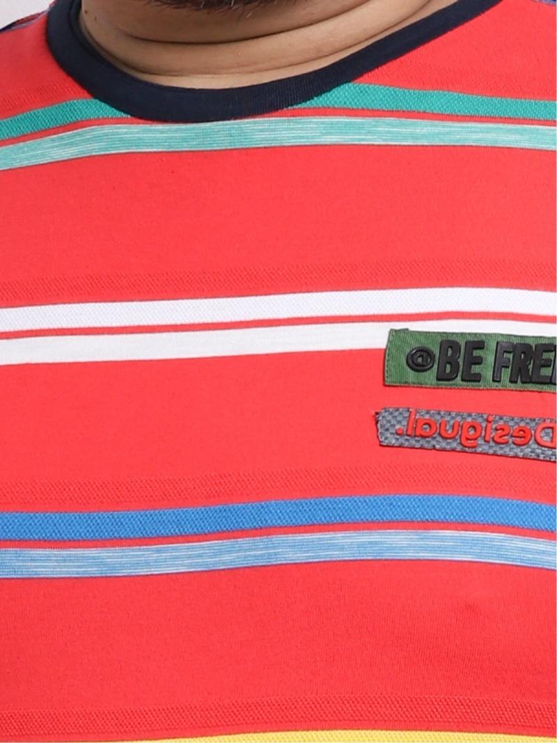 GRAND-BACK 【大きいサイズ】デシグアル/Desigual ポップ風ボーダー柄 ジャカード半袖Tシャツ タカキュー カットソー Tシャツ レッド【送料無料】