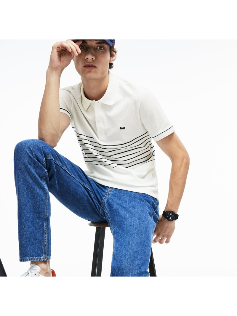 【SALE/30%OFF】LACOSTE パネルボーダー鹿の子地ポロ ラコステ カットソー ポロシャツ【RBA_E】【送料無料】