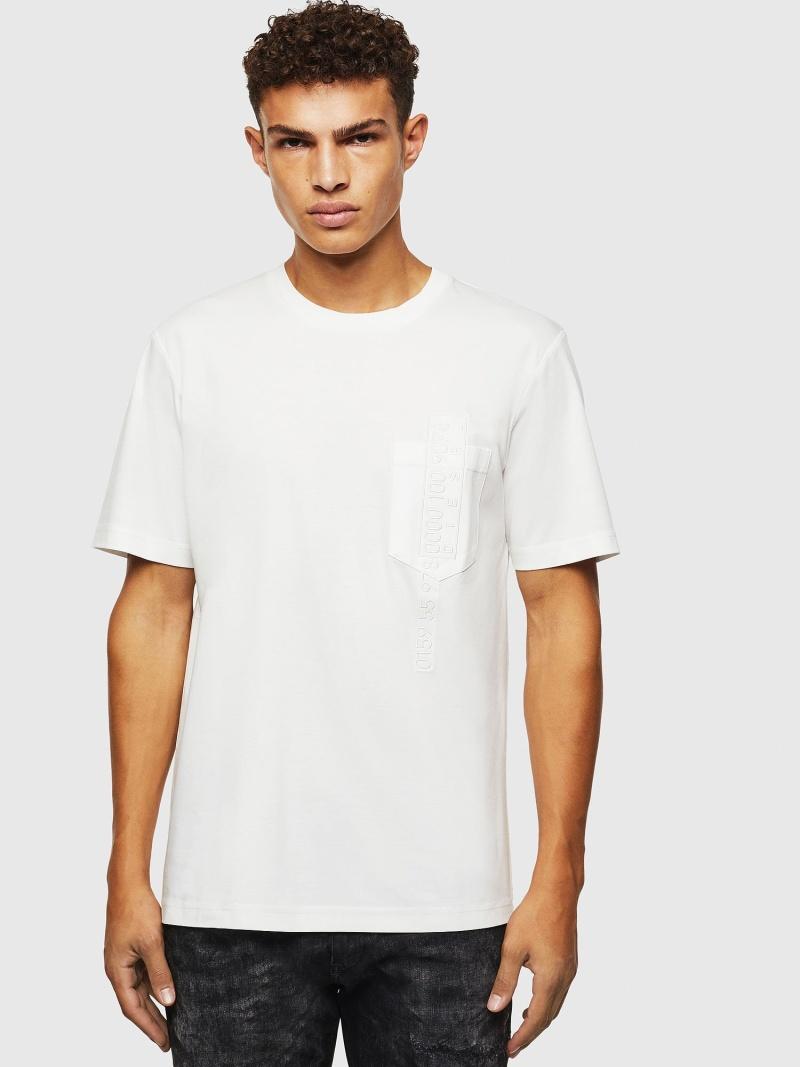 【SALE/40%OFF】DIESEL T-JUST-POCKET-J1 ディーゼル カットソー Tシャツ ホワイト ブラック【RBA_E】【送料無料】
