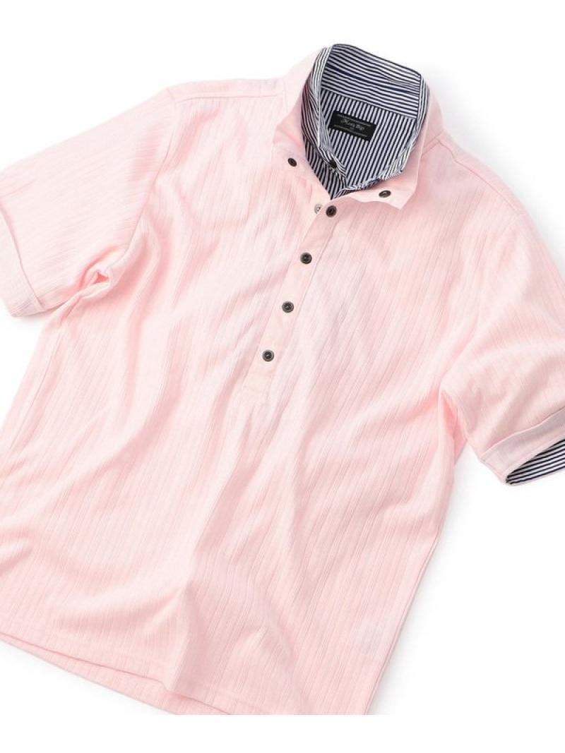 【SALE/20%OFF】MEN'S BIGI フェイクレイヤード シャドーストライプポロシャツ メンズ ビギ カットソー ポロシャツ ピンク ホワイト ネイビー【RBA_E】【送料無料】