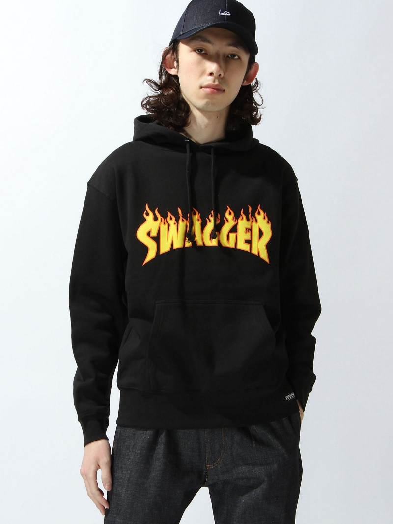 【SALE/20%OFF】SWAGGER FIRE PATTERN PULL スワッガー カットソー パーカー ブラック【RBA_E】【送料無料】