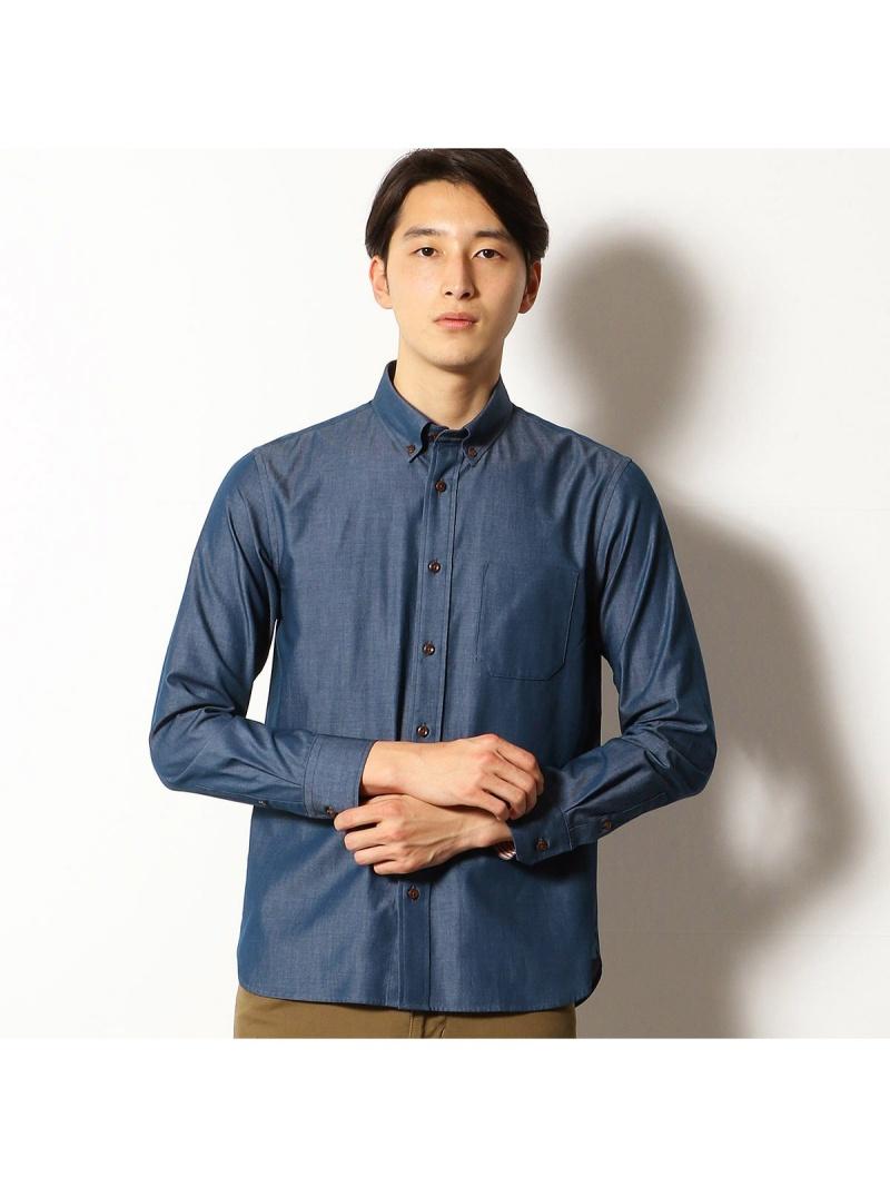 COMME CA COMMUNE デニムライク シャンブレーツイル ボタンダウンシャツ コムサイズム シャツ/ブラウス【送料無料】