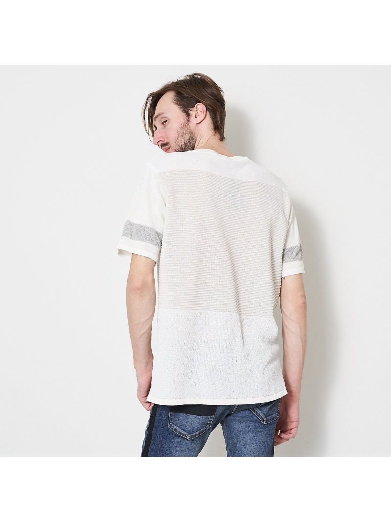 5351POUR LES HOMMES ポリエステルブークレー パッチワークニット ゴーサンゴーイチプールオム カットソー Tシャツ ホワイト ブラック グレー【送料無料】