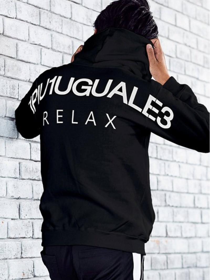 1PIU1UGUALE3 RELAX 1PIU1UGUALE3 RELAX/バックロゴプリントプルオーバーパーカー シフォン カットソー パーカー グレー ブラック ネイビー ホワイト【送料無料】