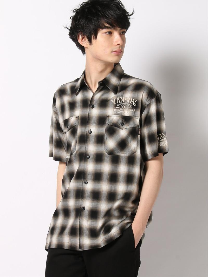 VANSON チェックシャツ バンソン シャツ/ブラウス 半袖シャツ ブラック レッド【送料無料】