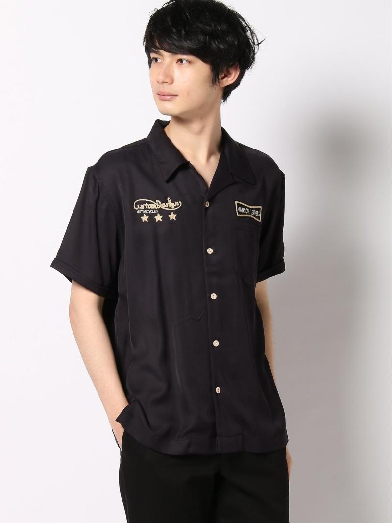 VANSON ボーリングシャツ バンソン シャツ/ブラウス 半袖シャツ ブラック【送料無料】
