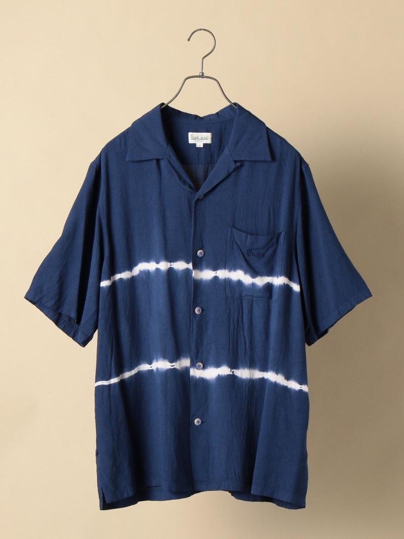 SHIPS JAMS:別注オープンカラーシャツタイダイ シップス シャツ/ブラウス 半袖シャツ ブルー【送料無料】