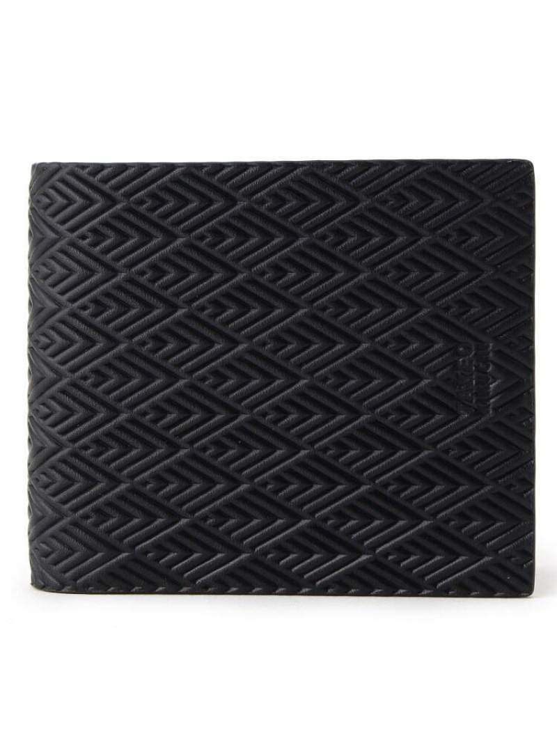 TAKEO KIKUCHI 型押し二つ折り財布[ メンズ 財布 二つ折り 革 黒 紺 ギフト ] タケオキクチ 財布/小物【送料無料】