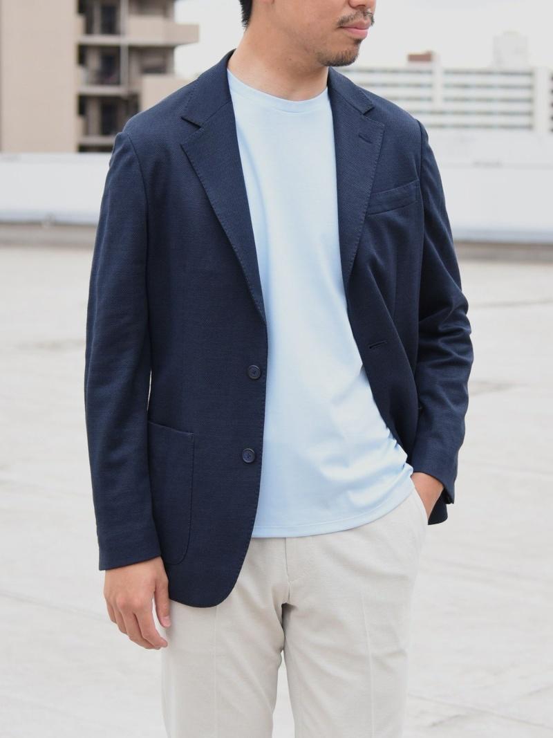 SHIPS SD:【手洗い可能】ラミージャージーウォッシャブルネイビーソリッドジャケット シップス コート/ジャケット テーラードジャケット ネイビー【送料無料】