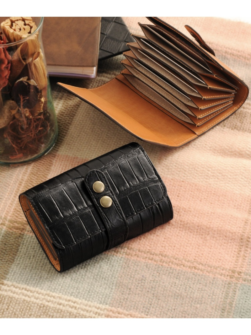 sankyoshokai クロコダイルレザーマット加工カードケース サンキョウショウカイ 財布/小物 革小物 ブラック【送料無料】