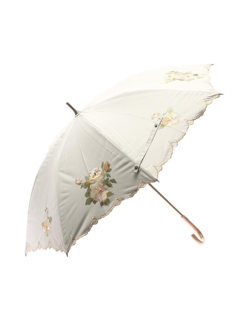 Sorcie Renom 晴雨兼用傘スライドショート傘一級遮光ドビー刺繍 ソシエ・レノ ファッショングッズ 長傘 ベージュ グレー【送料無料】