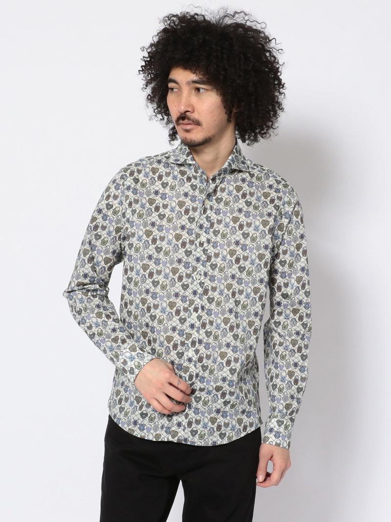 B'2nd SCROLL(スクロール)リバティパドロックプリントシャツ ビーセカンド シャツ/ブラウス 長袖シャツ ホワイト【送料無料】