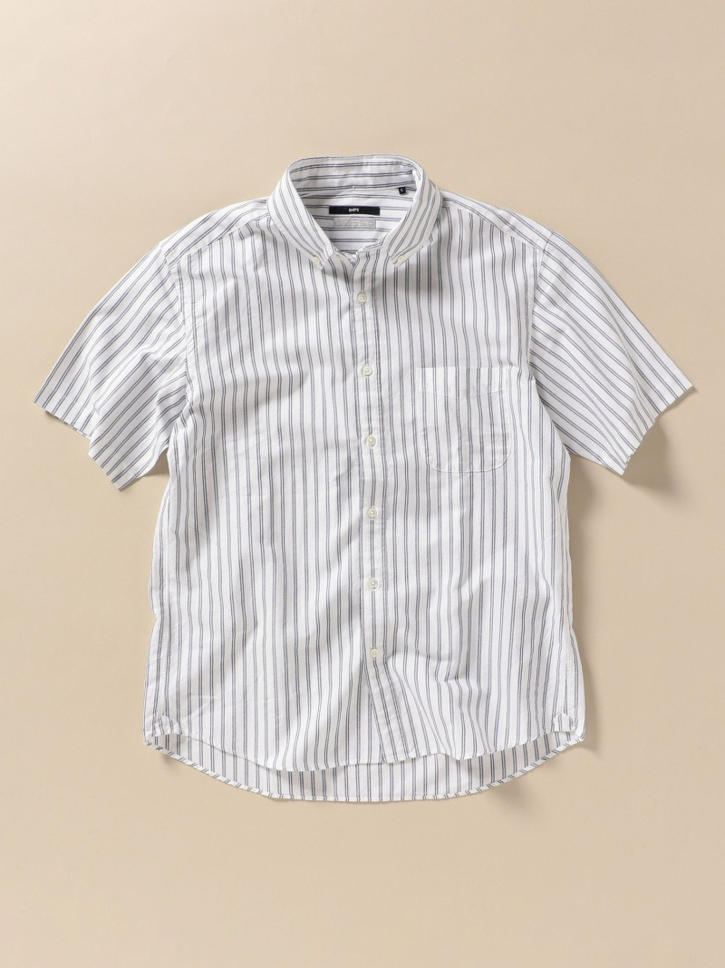 SHIPS SC:ペルヴィアンピマストライプショートスリーブシャツ シップス シャツ/ブラウス 半袖シャツ ホワイト ピンク ネイビー【送料無料】