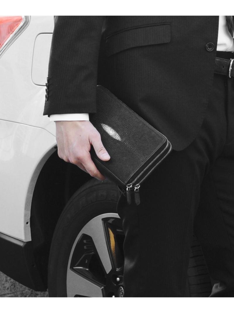 sankyoshokai 驚きの値段で メンズ 公式ショップ バッグ サンキョウショウカイ ブラック 送料無料 クラッチバッグ スティングレイレザークラッチバッグメンズ本革