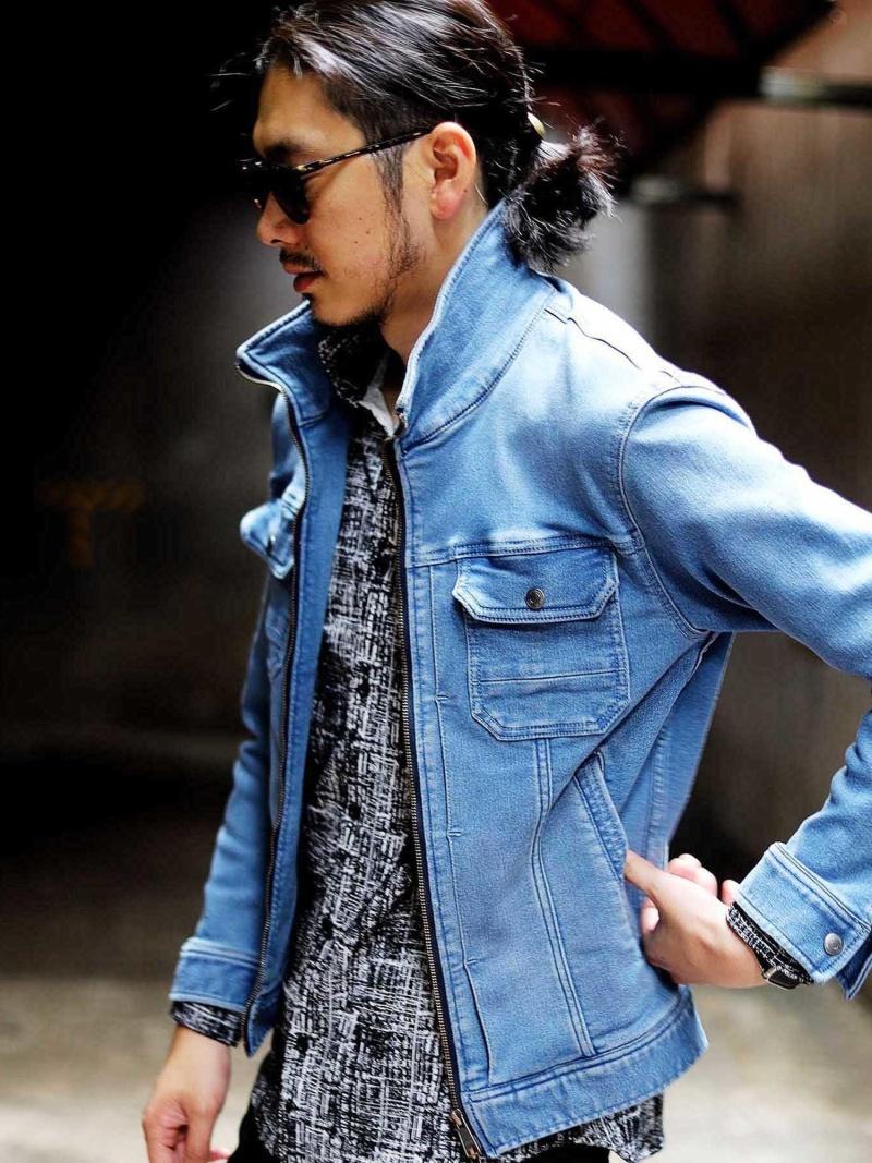 RATTLE TRAP <スタンドカラー>ストレッチGジャン メンズ ビギ コート/ジャケット デニムジャケット ブルー【送料無料】
