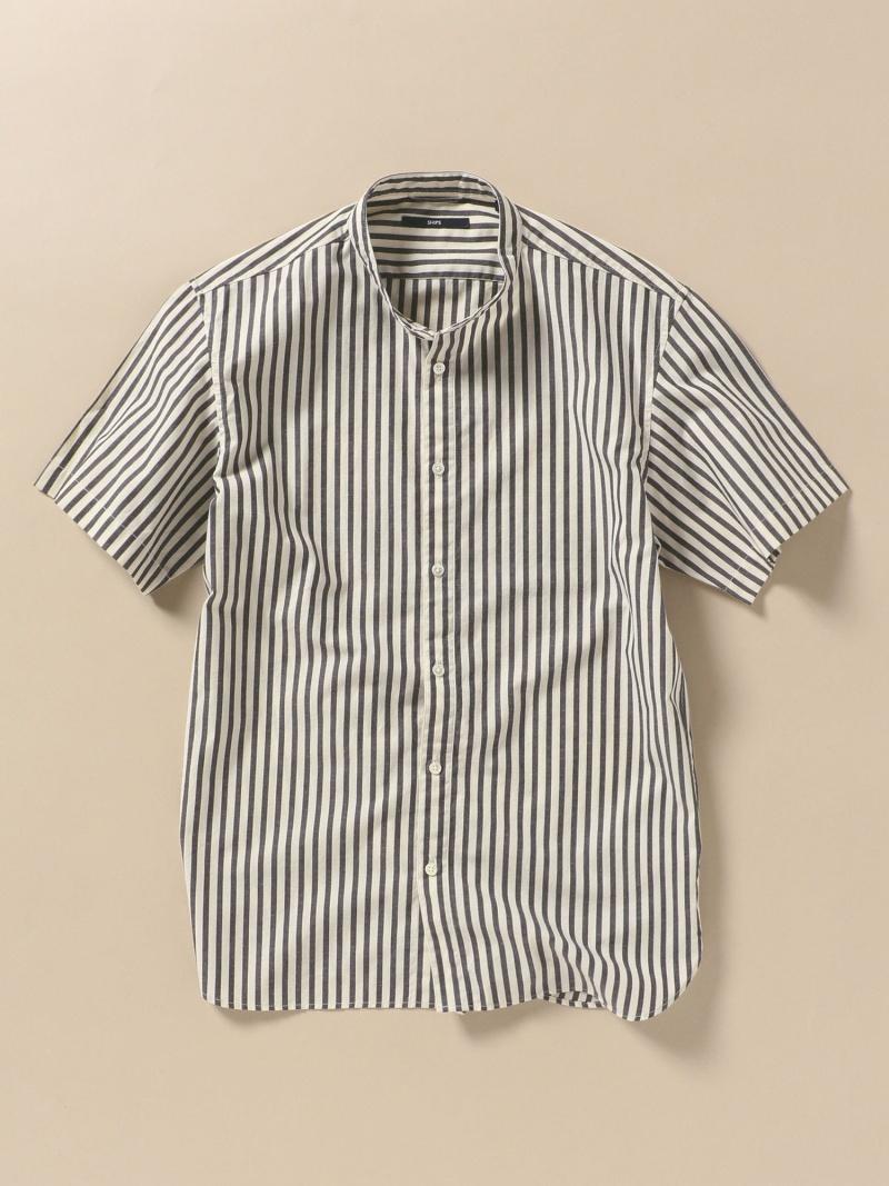 SHIPS SC:形態安定加工ポプリンバンドカラーシャツ シップス シャツ/ブラウス 半袖シャツ グレー ホワイト レッド ブルー ネイビー【先行予約】*【送料無料】