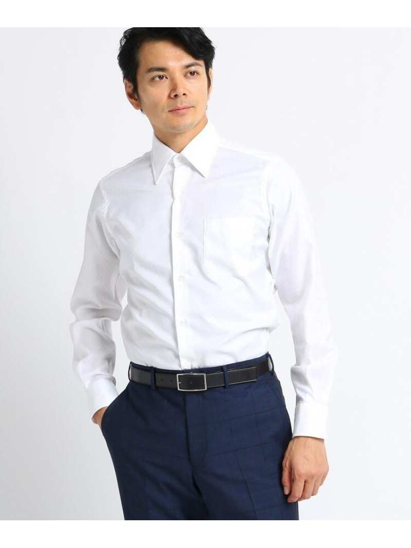 TAKEO KIKUCHI 【Sサイズ~】市松紋柄ビジネスシャツ タケオキクチ シャツ/ブラウス シャツ/ブラウスその他 ホワイト ブラック パープル ブルー【送料無料】