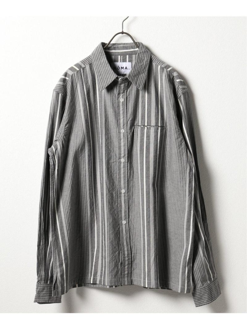 NOMA t.d. NOMA N Stripe Shirt ジャーナル スタンダード レリューム シャツ/ブラウス 長袖シャツ グレー ブラウン【送料無料】