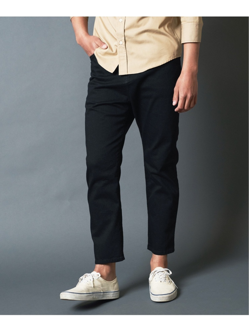 Magine WASHED STRETCH DENIM CROOPED 5PKT PANTS マージン パンツ/ジーンズ クロップド/半端丈パンツ ブラック ブルー【先行予約】*【送料無料】
