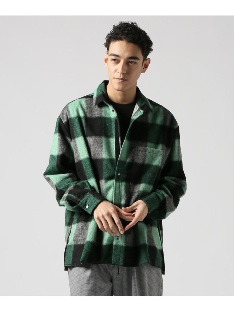 【SALE/45%OFF】CORELATE CORELATE Camicia Apertura Fianco+Velcro チェックシャツ ジャーナル スタンダード レリューム シャツ/ブラウス 長袖シャツ グリーン【RBA_E】【送料無料】: Fashion Men