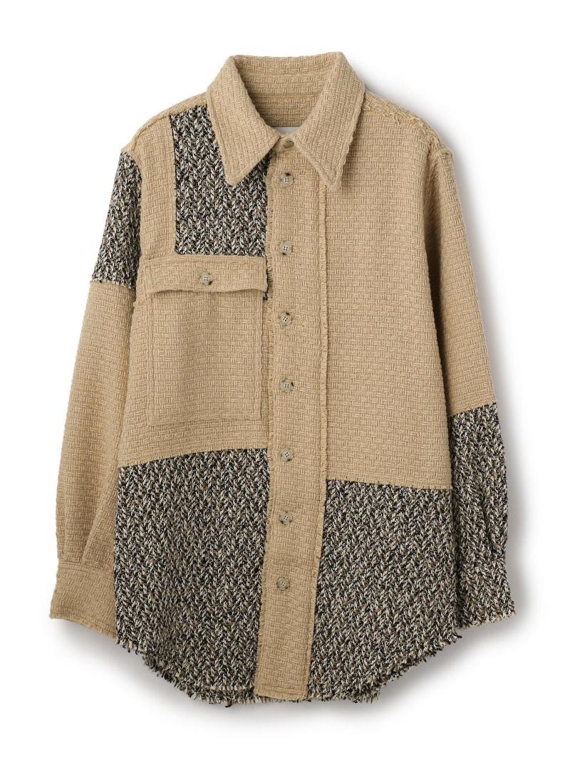 GARDEN TOKYO Anderson Bell/アンダーソンベル/PATCHWORK OVERSIZED SH/パッチワークオーバーサイズシャツ ガーデン シャツ/ブラウス 長袖シャツ ベージュ ブラック【送料無料】