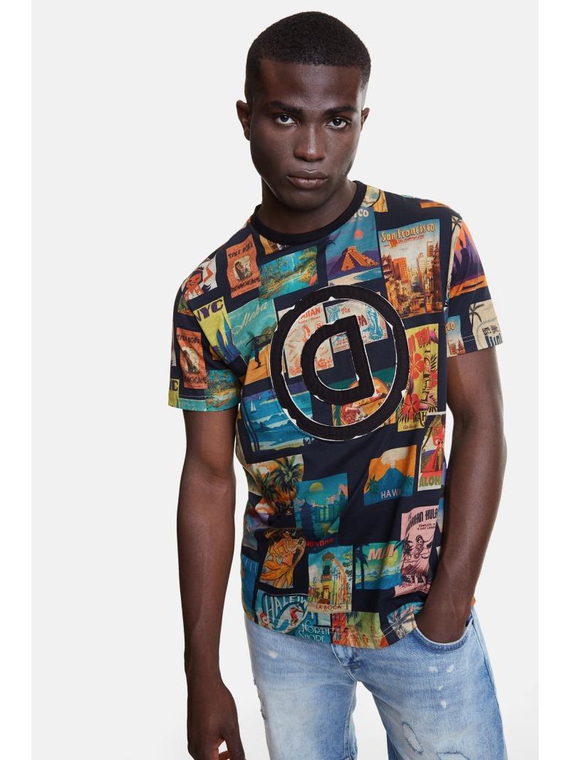 Desigual Tシャツ半袖 LOGAN デシグアル カットソー Tシャツ ブラック【送料無料】