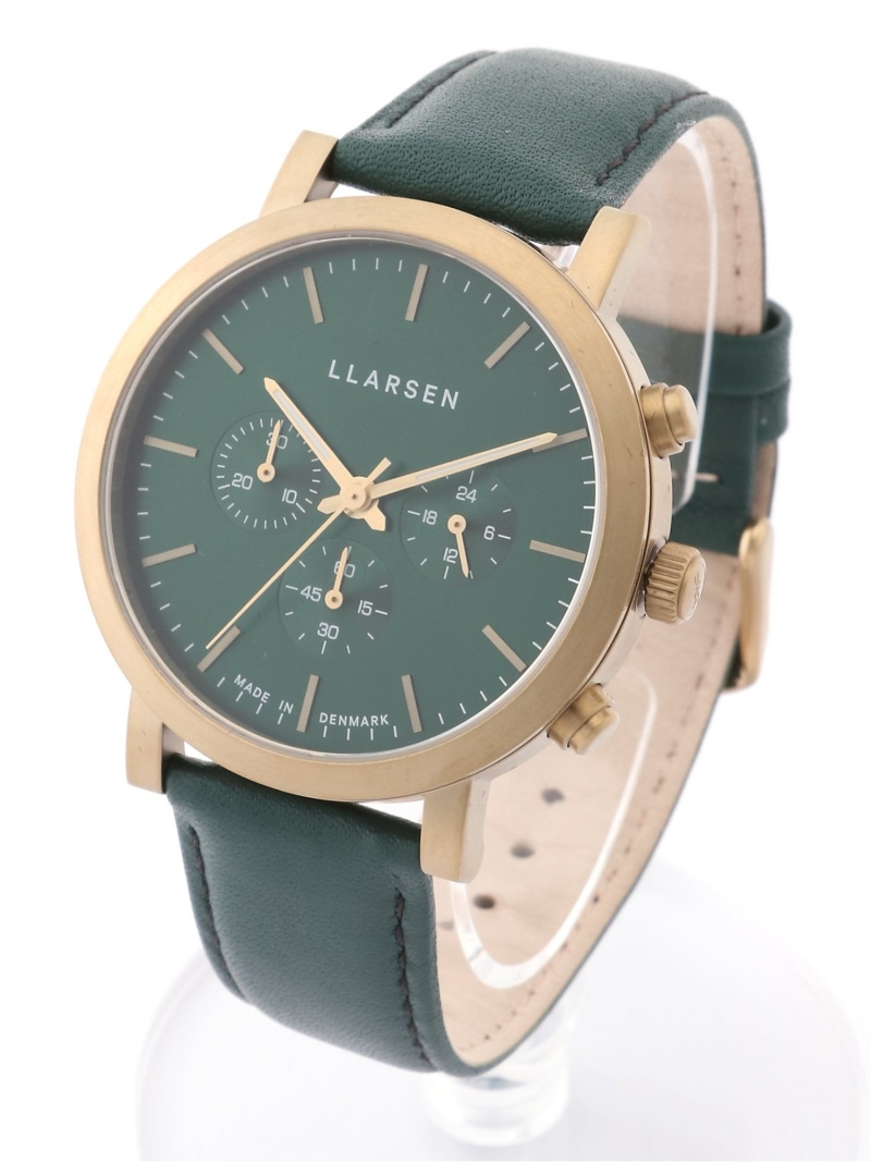 LARS LARSEN ユニセックス ファッショングッズ 供え ラースラーセン グリーンカーフベルト 爆売りセール開催中 送料無料 腕時計 グリーン クオーツ時計