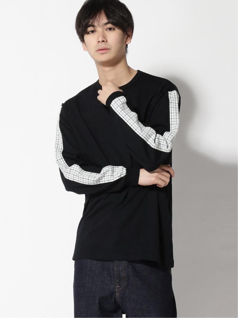 WISM KUON LONG SLEEVE T-SHIRT ウィズム カットソー Tシャツ ブラック ブルー【送料無料】