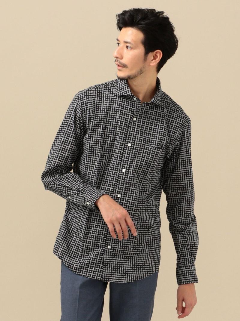 SHIPS SC: セミワイドカラー 小紋柄 シャツ シップス シャツ/ブラウス 長袖シャツ ブラック ホワイト ネイビー【送料無料】