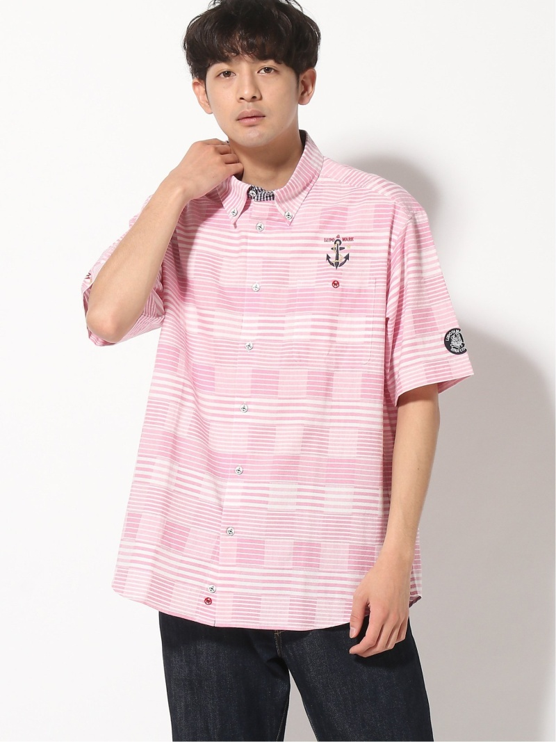 SINA COVA SINA COVA/(M)半袖ボタンダウンシャツ シナコバ シャツ/ブラウス 半袖シャツ ピンク ブルー【送料無料】