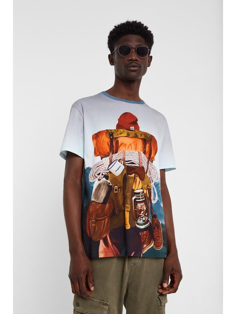 Desigual Tシャツ半袖 MONTAIN デシグアル カットソー Tシャツ ブルー【送料無料】
