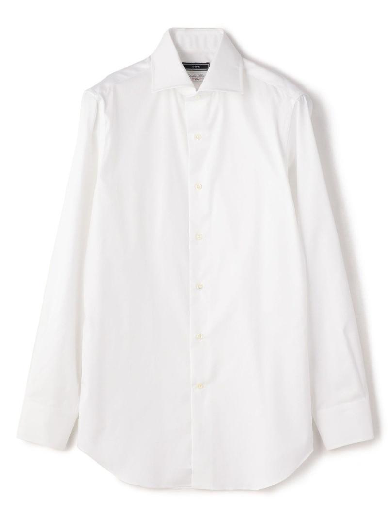 SHIPS SD:ALBINIツイルソリッドワイドカラーシャツ シップス シャツ/ブラウス 長袖シャツ ホワイト【送料無料】