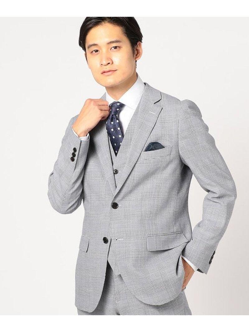 【SALE/40%OFF】CROWDED CLOSET 【セットアップ】リネン混グレンチェックジャケット メンズ ビギ ビジネス/フォーマル セットアップスーツ ブルー【RBA_E】【送料無料】