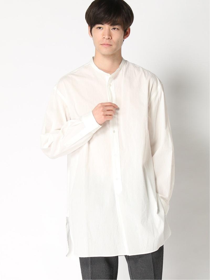 EDIFICE LA BOUCLE バンドカラービッグシャツ ライトコードレーン エディフィス シャツ/ブラウス 長袖シャツ ホワイト【送料無料】