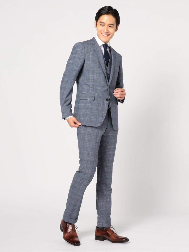 【SALE/10%OFF】CROWDED CLOSET 【NARROW】杢グレンチェックスーツ メンズ ビギ ビジネス/フォーマル スーツ ブルー グレー【RBA_E】【送料無料】