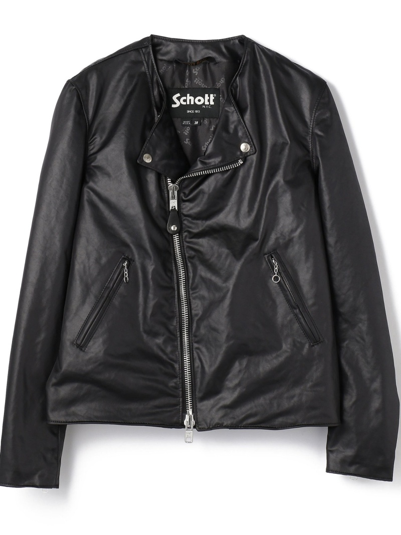 schott SATINCLOTHNOCOLLARRIDERS ショット コート/ジャケット ブルゾン ブラック【送料無料】