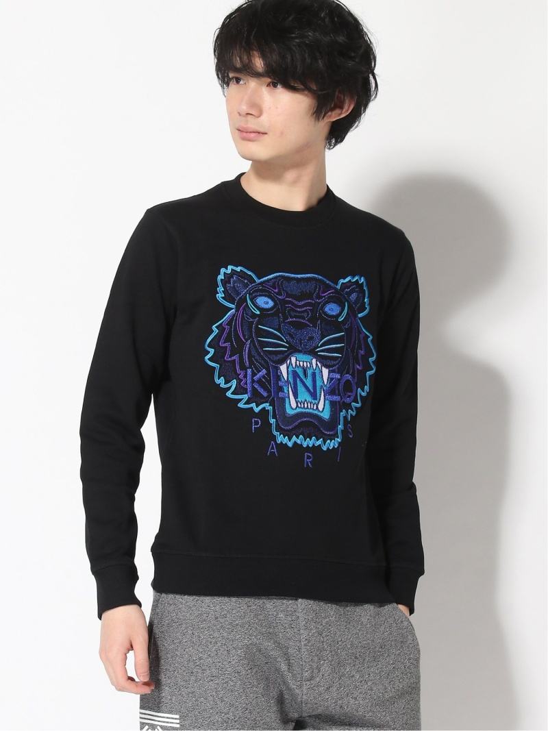 KENZO (M)Classic Tiger Sweatshirt M XC18 ケンゾー カットソー スウェット ブラック ブルー【送料無料】