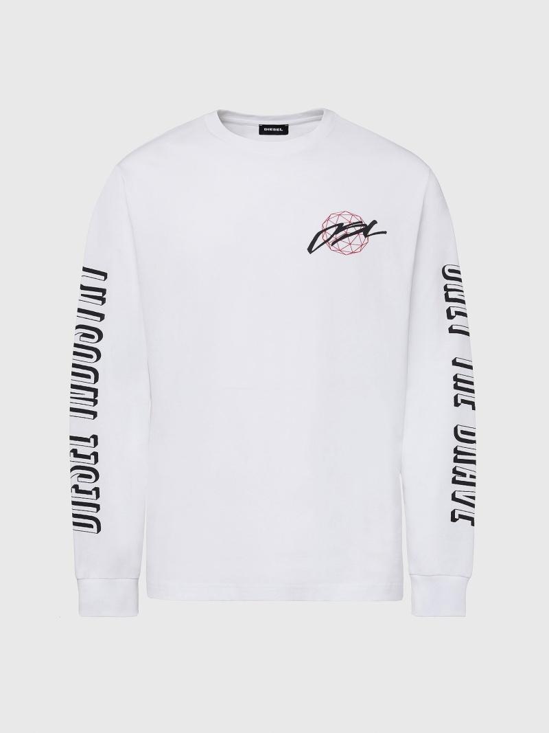 DIESEL T-JUST-LS-X92 ディーゼル カットソー Tシャツ ホワイト ブラック グレー【送料無料】