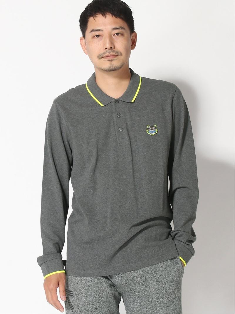 KENZO (M)Tiger Crest LS Polo ケンゾー カットソー ポロシャツ グレー ブラック【送料無料】