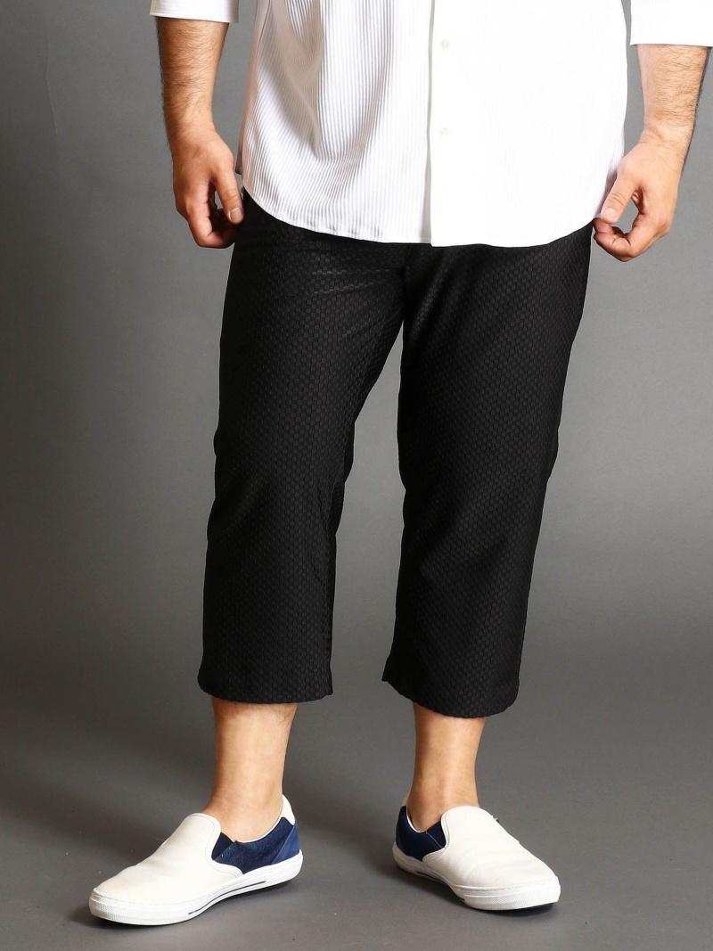 HIDEAWAYS(大きいサイズ) <大きいサイズ>市松柄ジャカードパンツ ニコル パンツ/ジーンズ ショートパンツ ブラック ホワイト【送料無料】